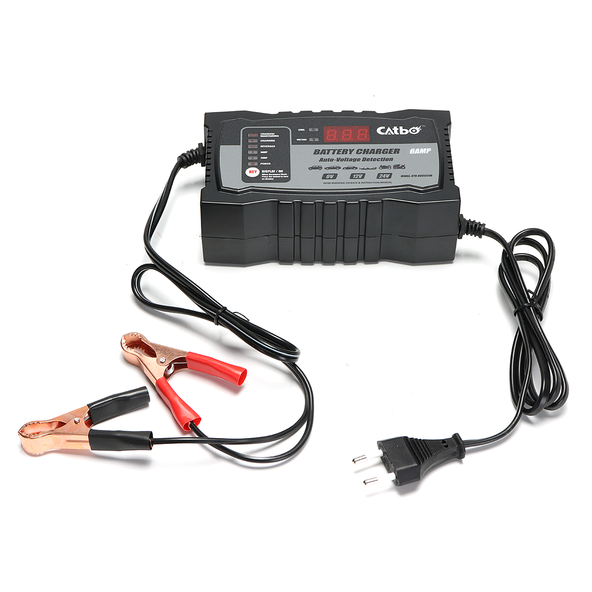 6/12/24V 2/6/3A Automatic Smart Lead Acid Battery Charger For Car Motorcycle EU Plug