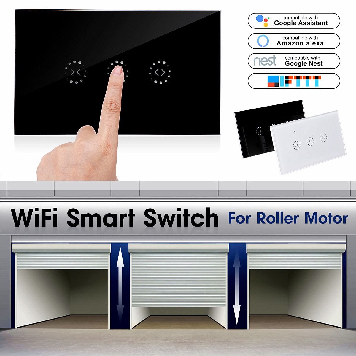 2200W WiFi Smart Wall Touch Light Switch Glass Panel Wireless Remote Control by Mobile APP For Roller Shutter Curtain Electric Door Touch Switch