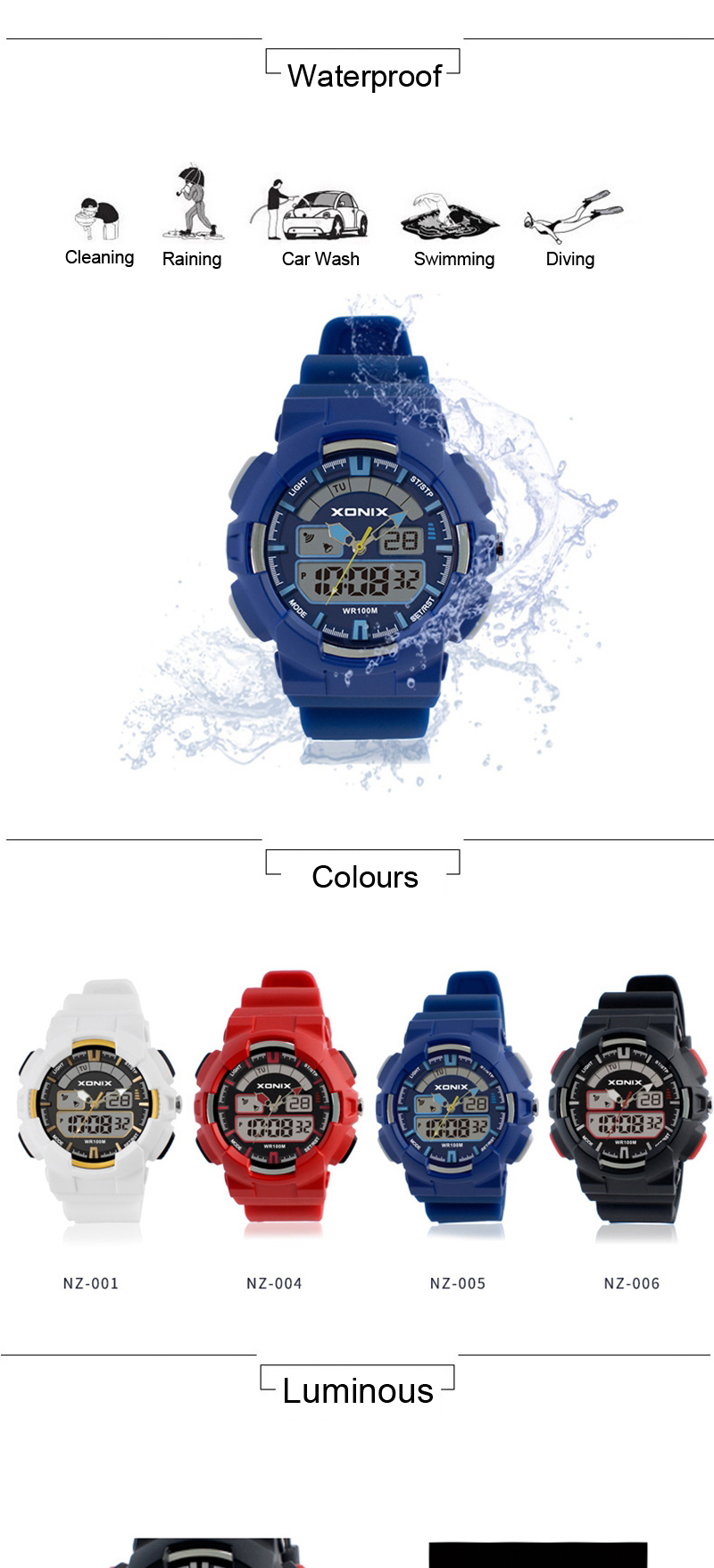 XONIX NZ Children Watch Dual Display Waterproof 100M Luminous Swimming Sport Student Watch