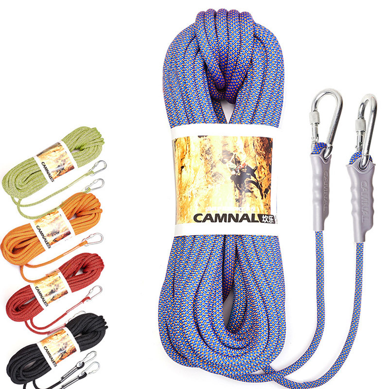 CAMNAL Nylon Climbing Rope 10m 10.5mm Diameter 16-32KN Downhill Rope Fire Rescue Parachute Rope