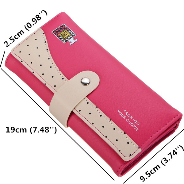 Women Candy Color Dot Long Wallet Girls Hasp Cute Perfume Bottle Purse Card Holder Coin Bags