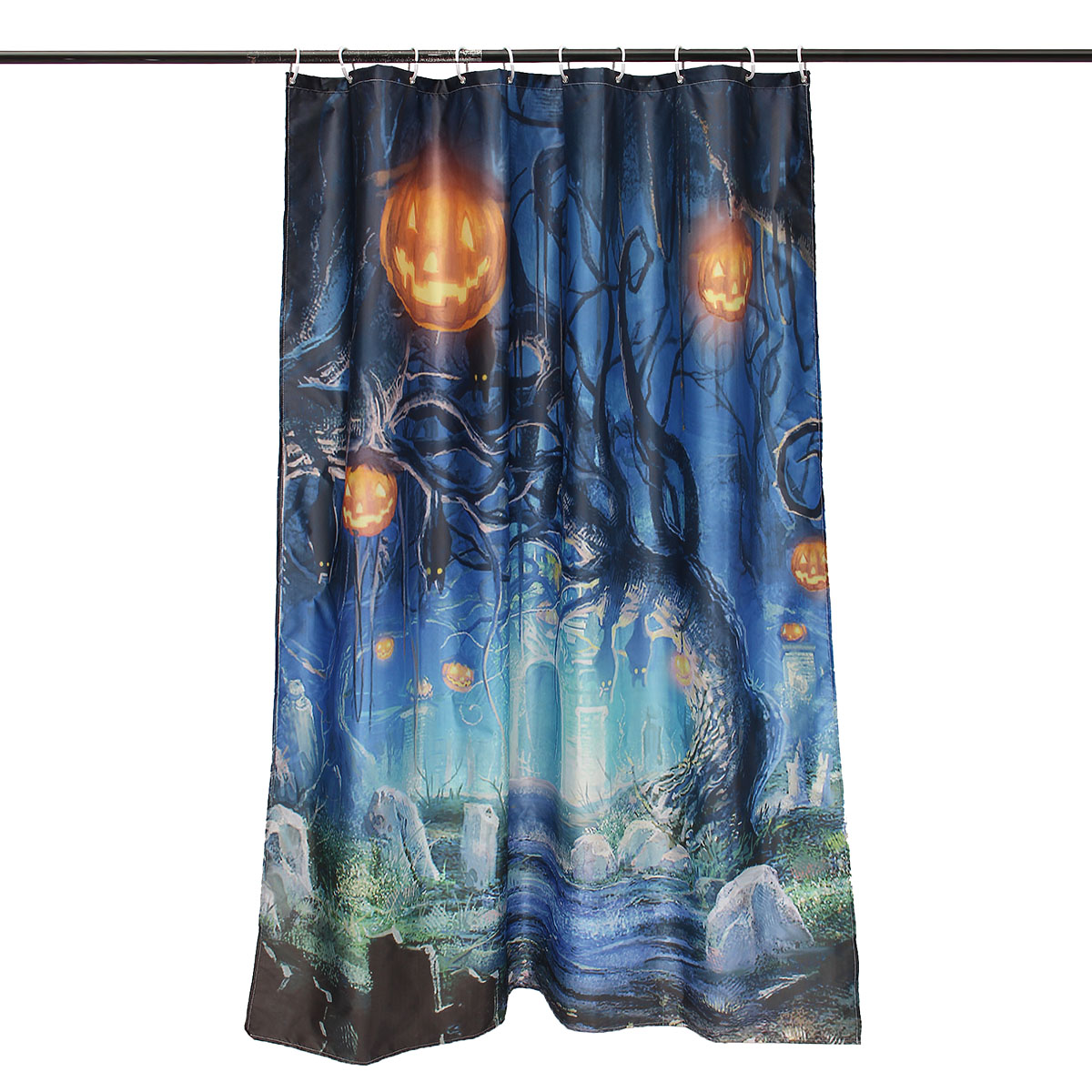 150x180cm Halloween Ghost Pumpkin Polyester Shower Curtain Bathroom Decor with 12 Hooks