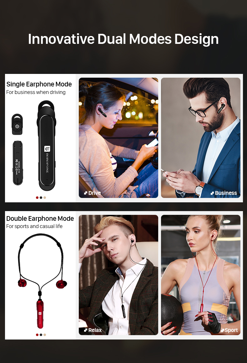 Borofone BE10 2 in 1 Business Sport Water-proof Noise-cancelling bluetooth Earphone Earbud with Mic