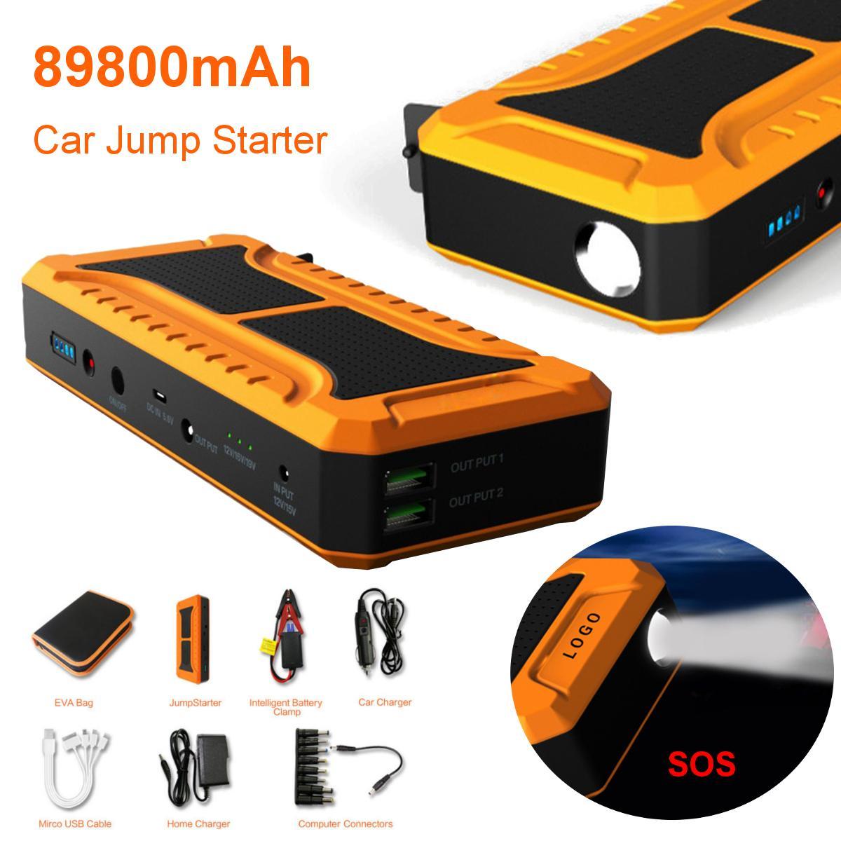 12V Car Jump Starter 89800mAh 2 USB LED Emergency Battery Booster Power Bank