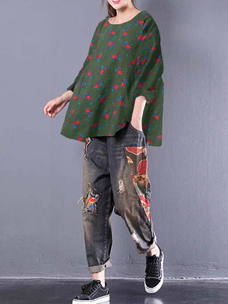 Women Loose Baggy Floral Blouses