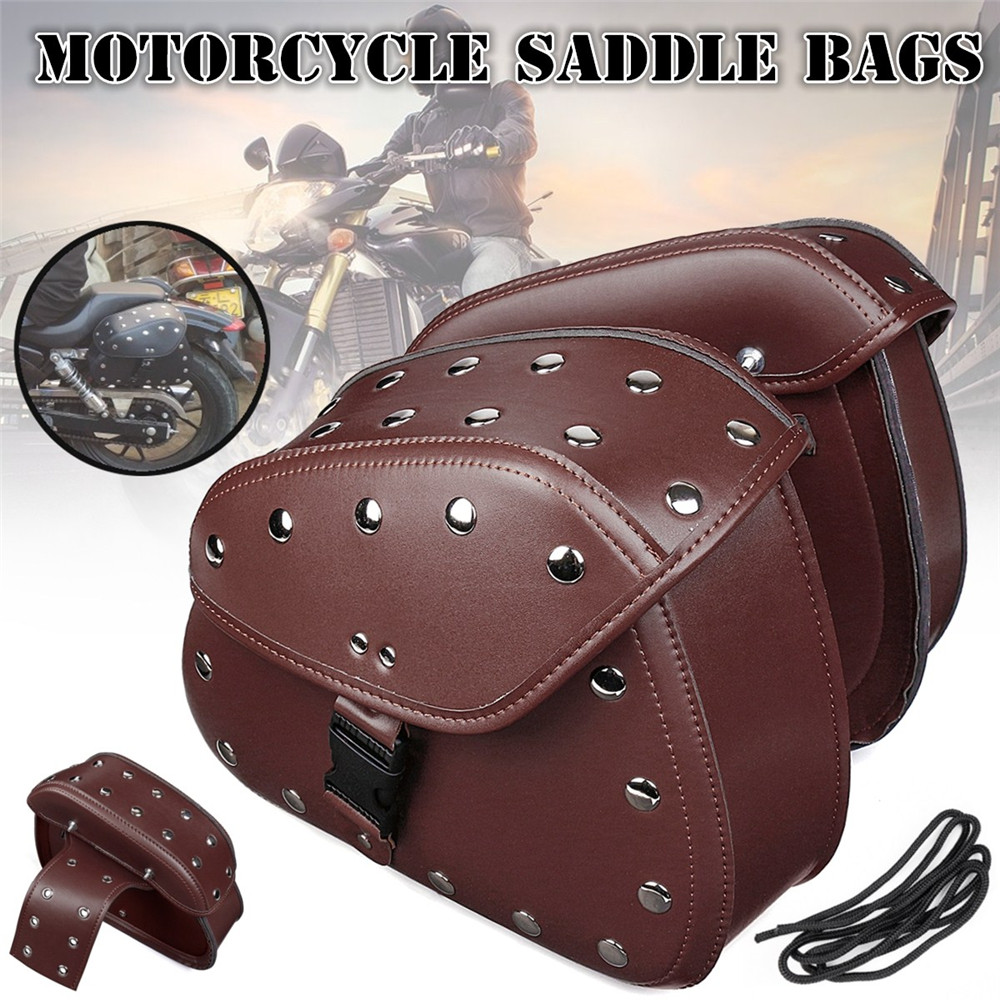 Pair Brown Black Universal PU Leather Motorcycle Tool Bag Luggage Saddlebags