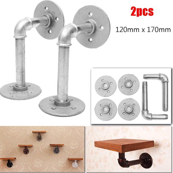 2Pcs Iron Pipe Shelf Brackets Silver Industrial Steel Holder Home Decor DIY