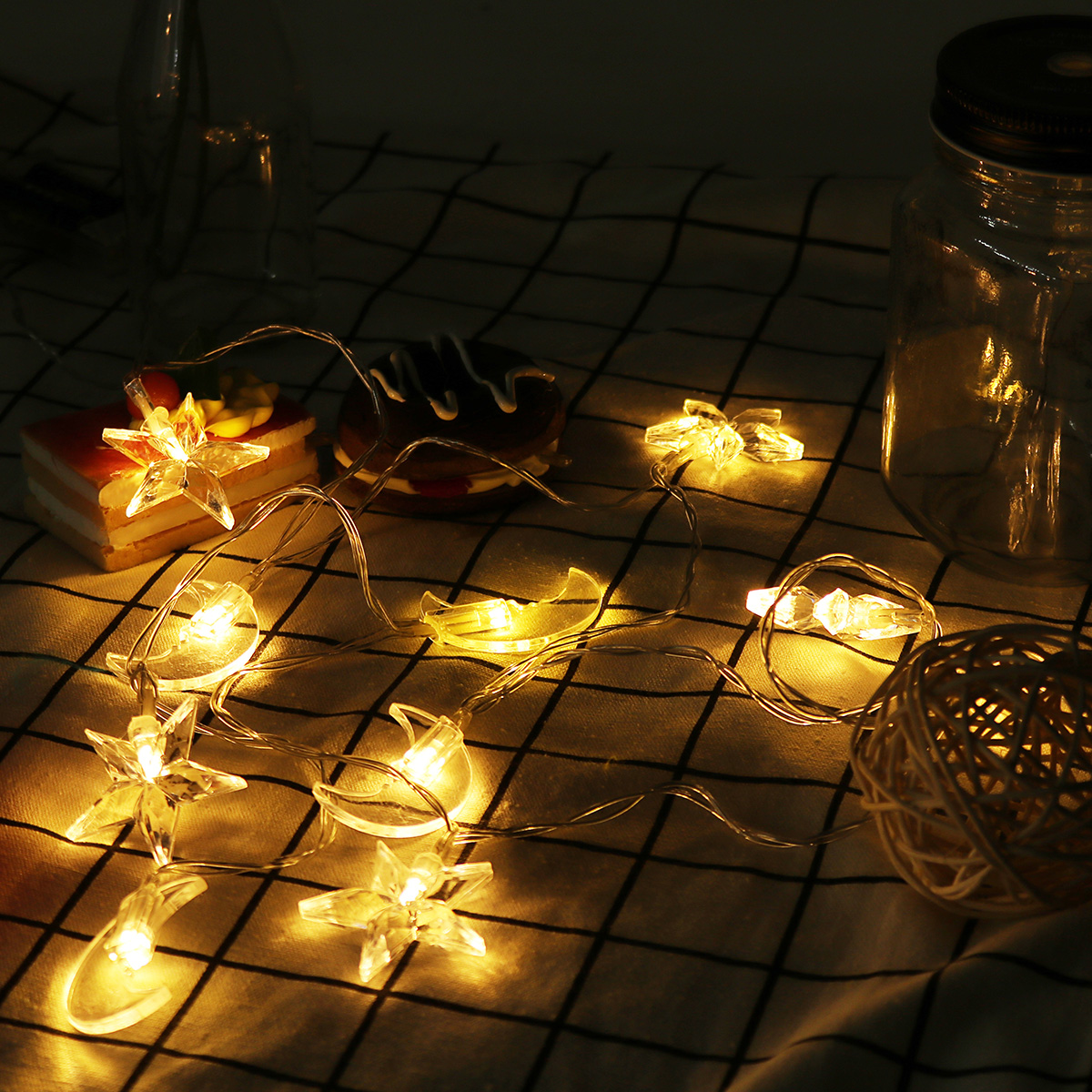 Battery Powered 8 Color Moon Star Shape 10 LED Fairy String Light Room Home Party Holiday Decor