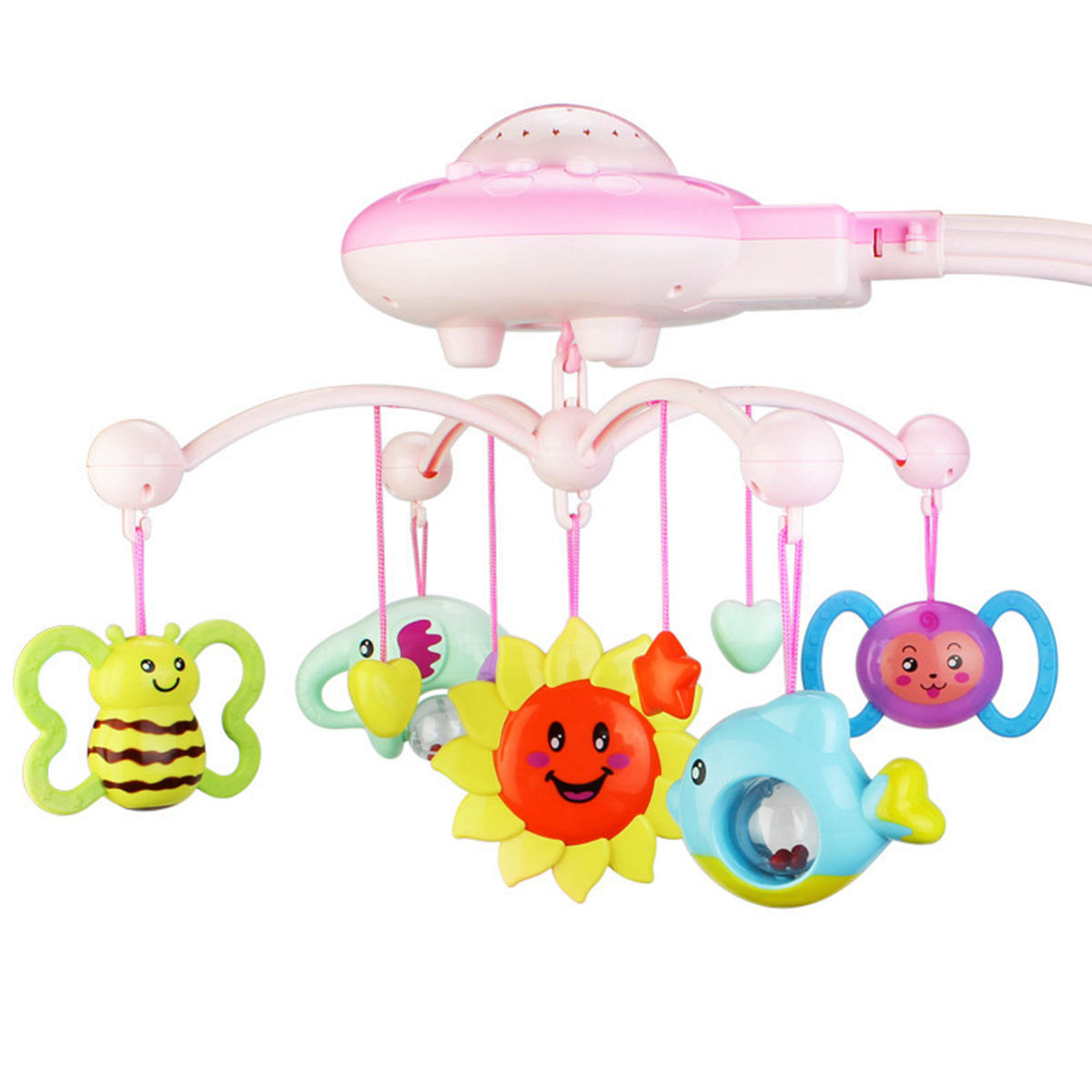Crib Mobile Musical Bed Bell With Animal Rattles Projection Early Learning Toys 0-12 Months