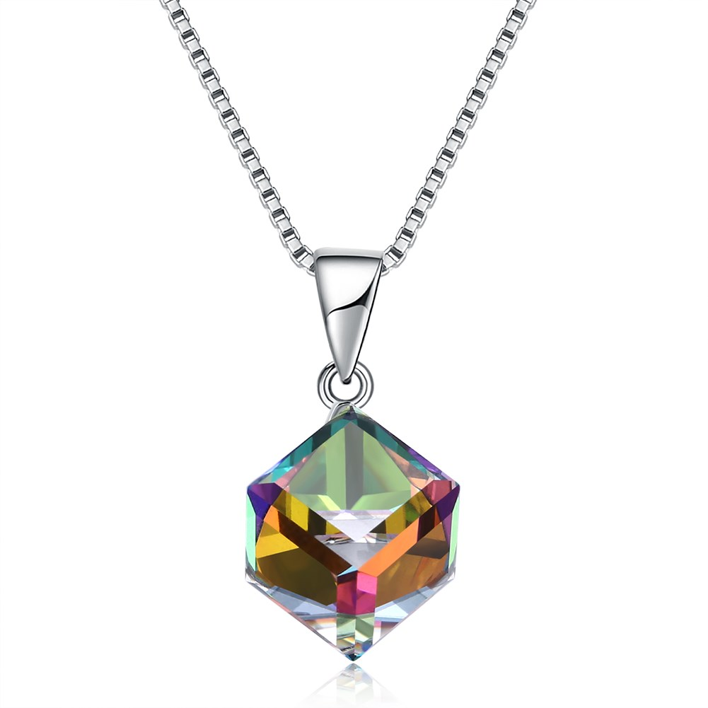 Image of 925 Sterling Silber Colorful Glänzende Cube Kristall Halskette S