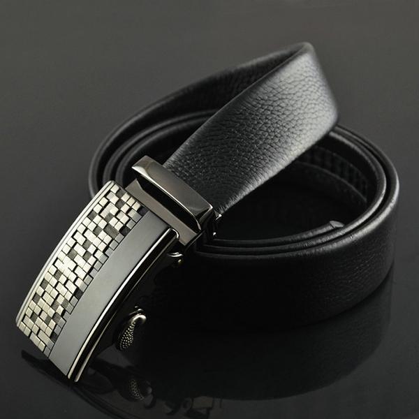 125-130CM Men Business Genuine Leather Belt Durable Automatic Buckle Strap Waistband