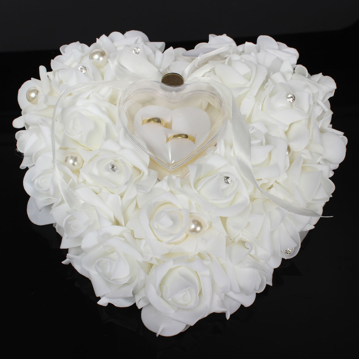 Wedding Favors Romantic Pearl Rose Heart Shaped Gift Ring Box Pillow Cushion