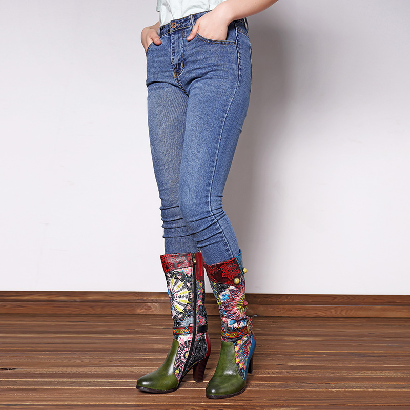 SOCOFY Leather Handmade Pattern Boots