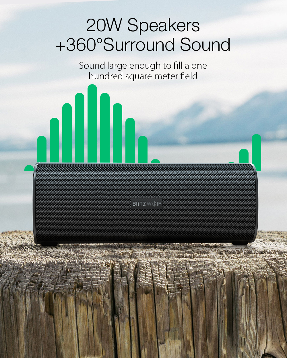 BlitzWolf® BW-WA2 20W Wireless bluetooth Speaker Dual Passive Diaphragm TWS NFC Bass Stereo Outdoors Soundbar with Mic