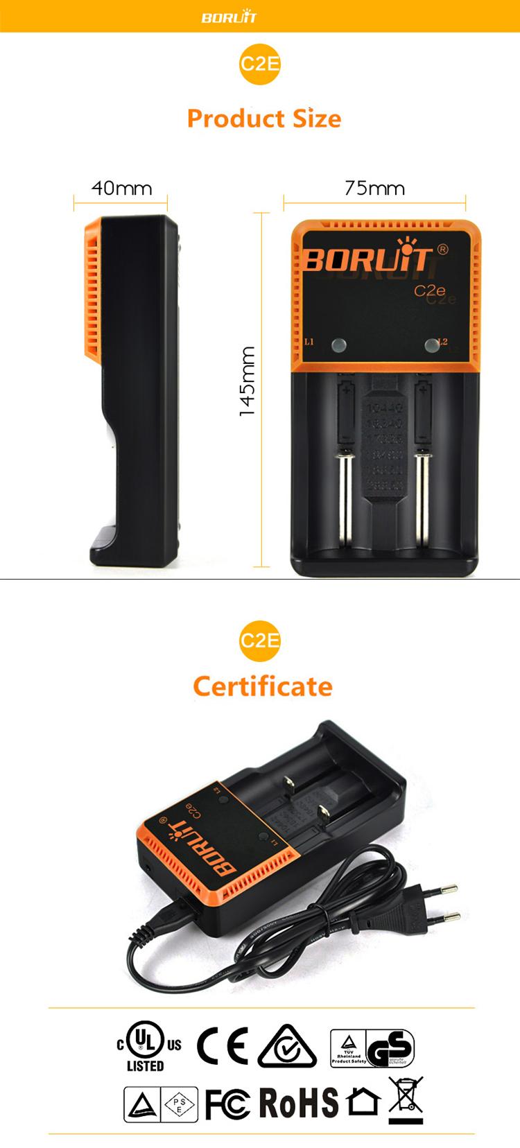 BORUiT C2e Universal Dual Slot 18650 26650 Li-ion LiFO4 AA AAA Rechargeable Battery Charger