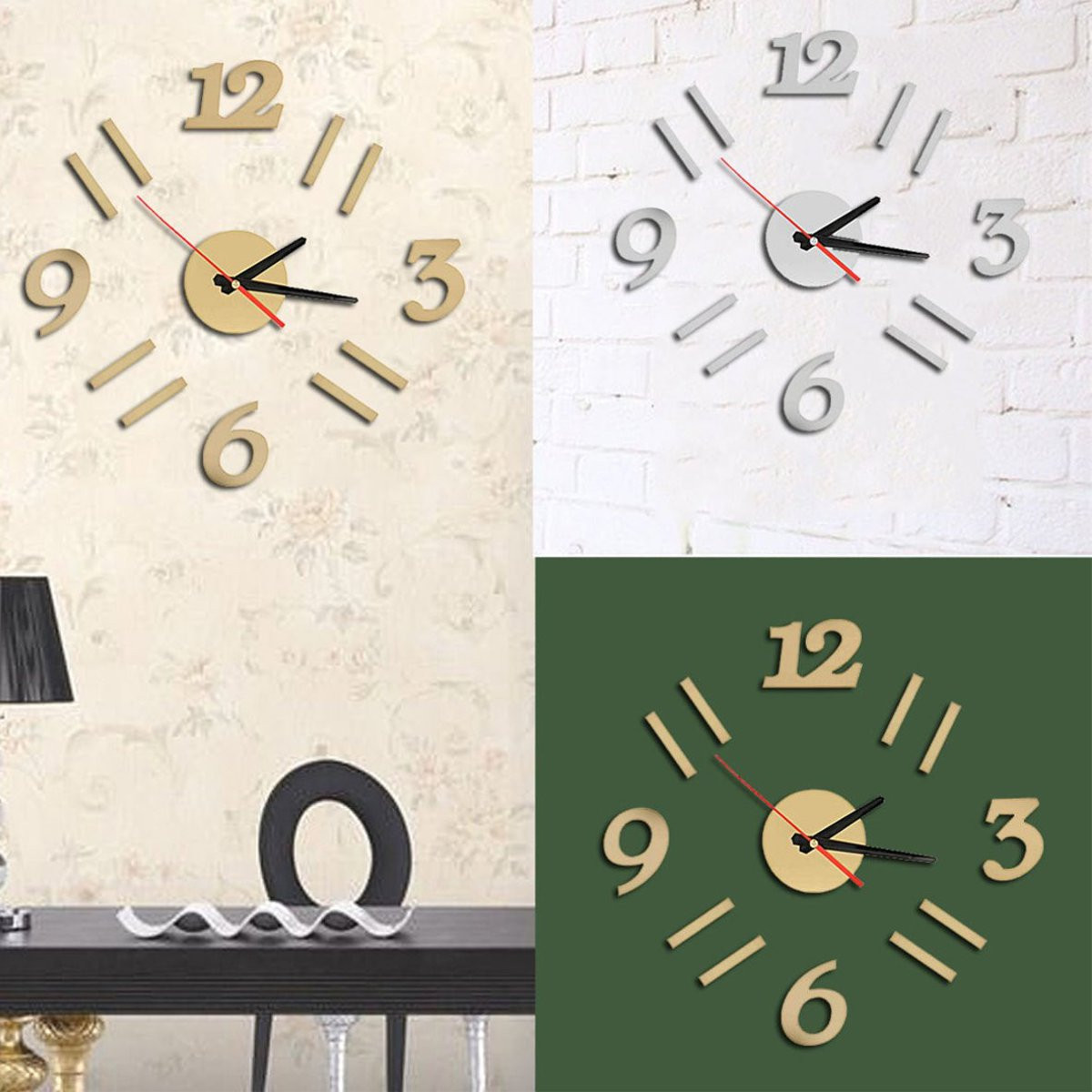 Modern 3D Wall Clock Mirror Design Surface Sticker Home Office Room Decoration