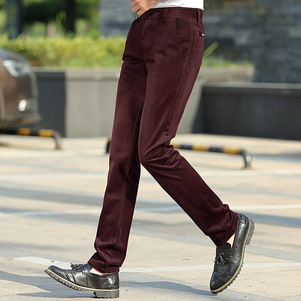 Men's Casual Corduroy Straight Trousers