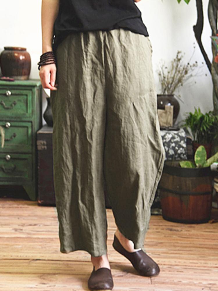 Купить со скидкой Women Vintage Elastic Waist Casual Loose Wide Leg Pants