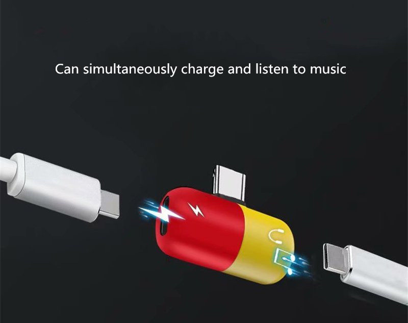 Universal Type-c to Dual Type-c Fast Charging Audio Music Adapter Converter for Xiaomi Mobile Phone