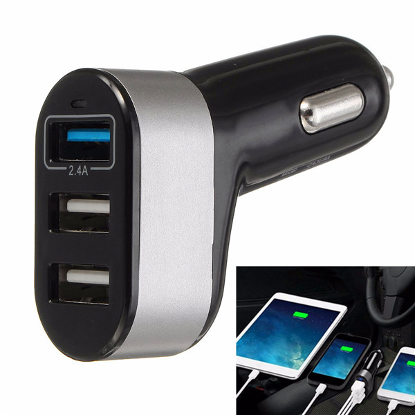 Fast Car Charger 12V/24V Triple 3 Port USB Adapter for iPhone Samsung Tablets