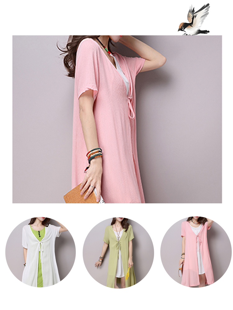 Loose Women Lacing Short Sleeve V-neck Pure Color Linen Cardigan