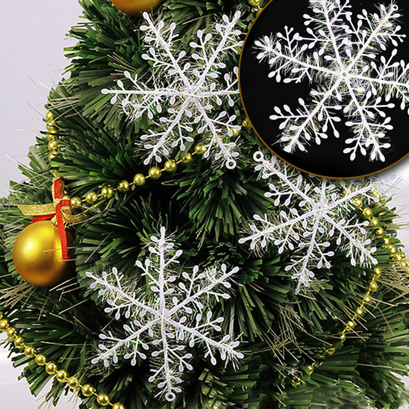 6pcs Christmas Ornament 3D White Snowflake Plastic Christmas Tree Window Christmas Decoration