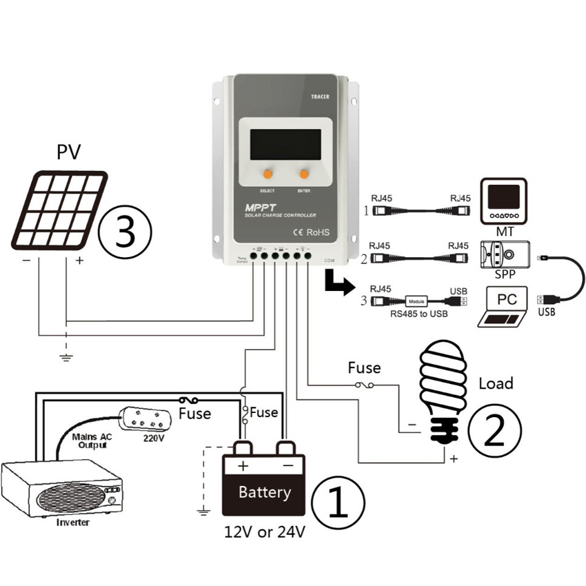 Epever Tracer LCD Diaplay 10A/20A/30A/40A 12V/24V Auto MPPT Solar Charge Controller Connect Solar Panel Battery Solar Regulator