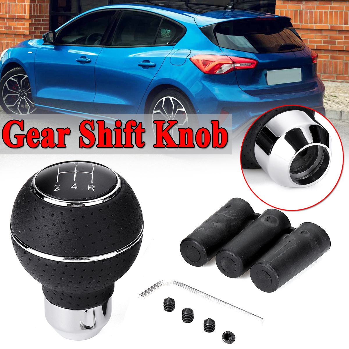5 Speed Gear Shift Knob with Sleeve Adapter Lever Black for Ford Focus Mondeo Fiesta