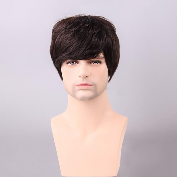 Medium Brown Men Short Human Hair Wig Male Mono Top Virgin Remy Capless