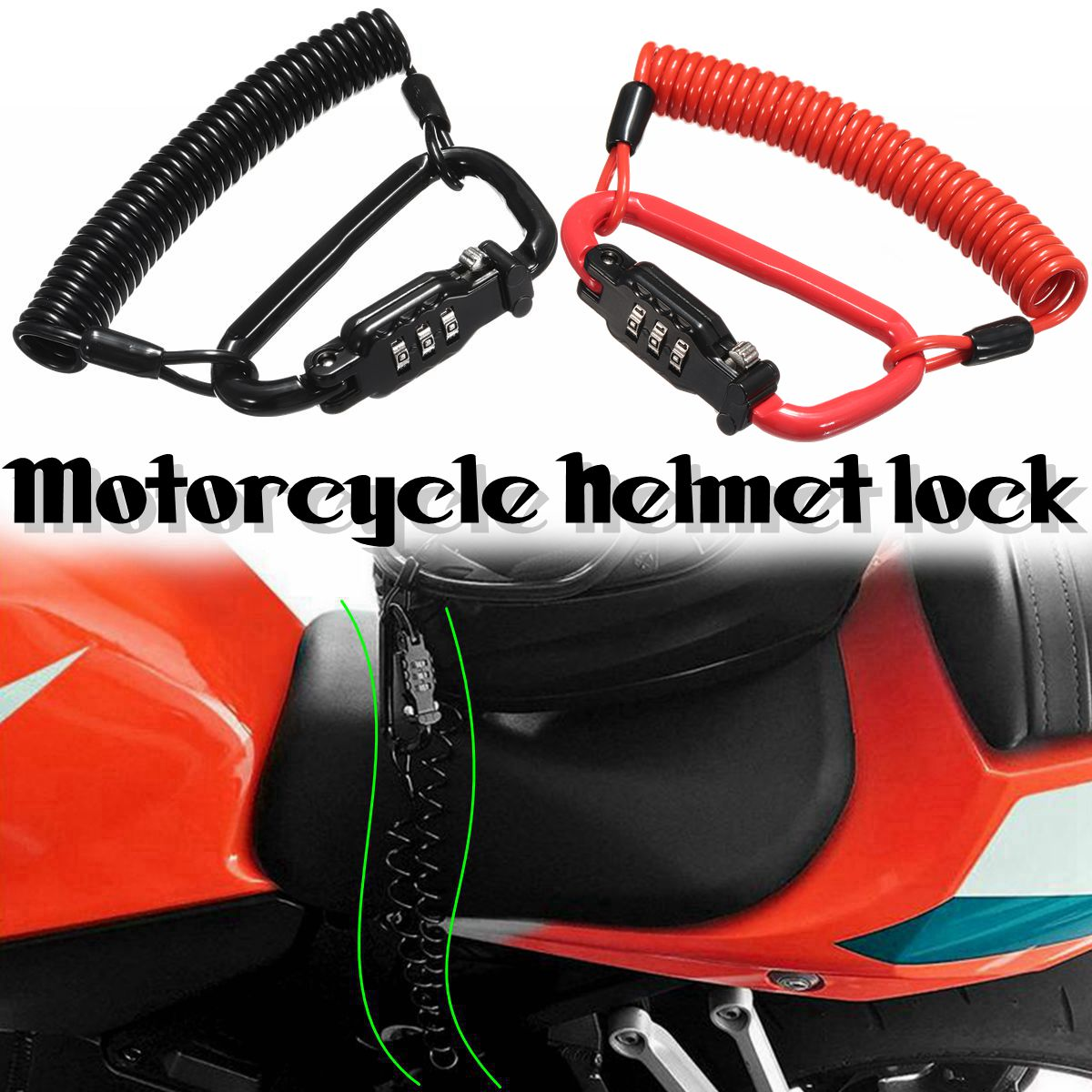 Motorcycle Scooter Security Helmet Lock Combination Coded PIN with T-Bar Rubber Cable