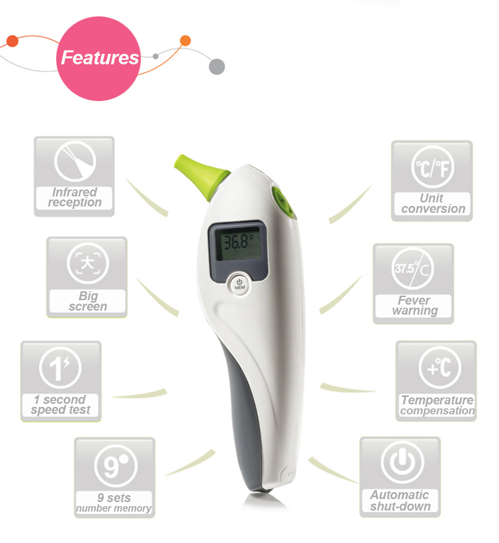 Yuwell Yht102 Digital Infrared Ear Thermometer Fever Alarm
