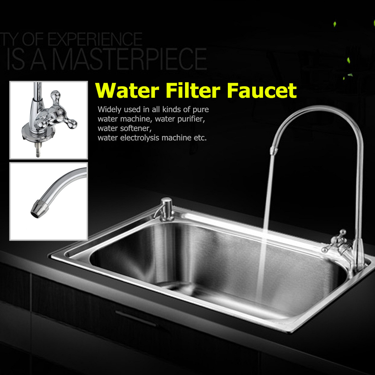 Home Kitchen Drinking Water Tap Faucet Water Purifier Filter System Faucet 1/4 Inch Single Handle