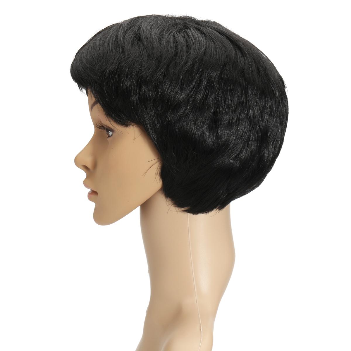 Sexy Short Cut Wavy Black Curly Wig Women Fashion Cosplay Synthetic Full Wigs