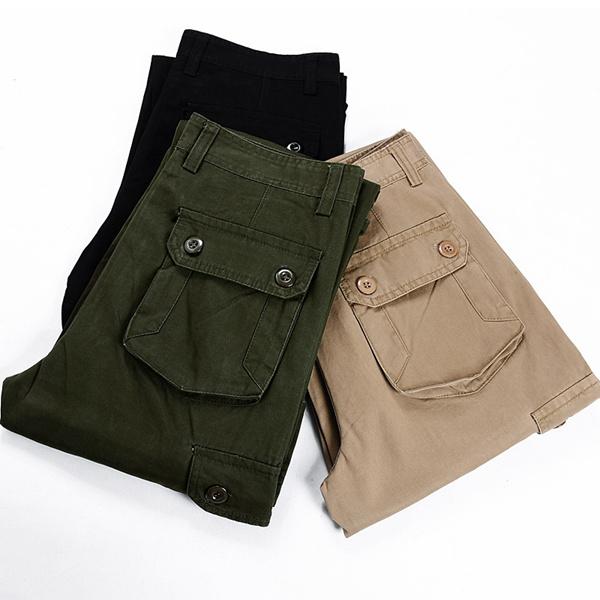 Men Casual Straight Leg Multi Pocket Cotton Cargo Pants Trousers