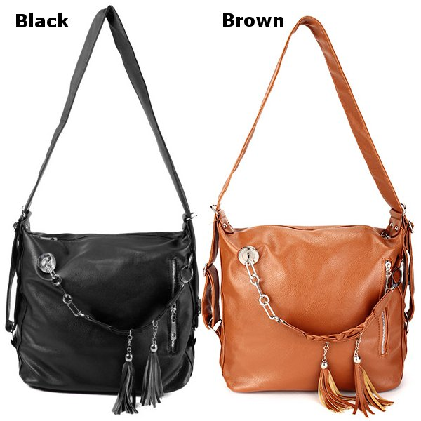 Women Retro Tassel Chain Shoulder Bags Casual Backpack Shoulder Bags