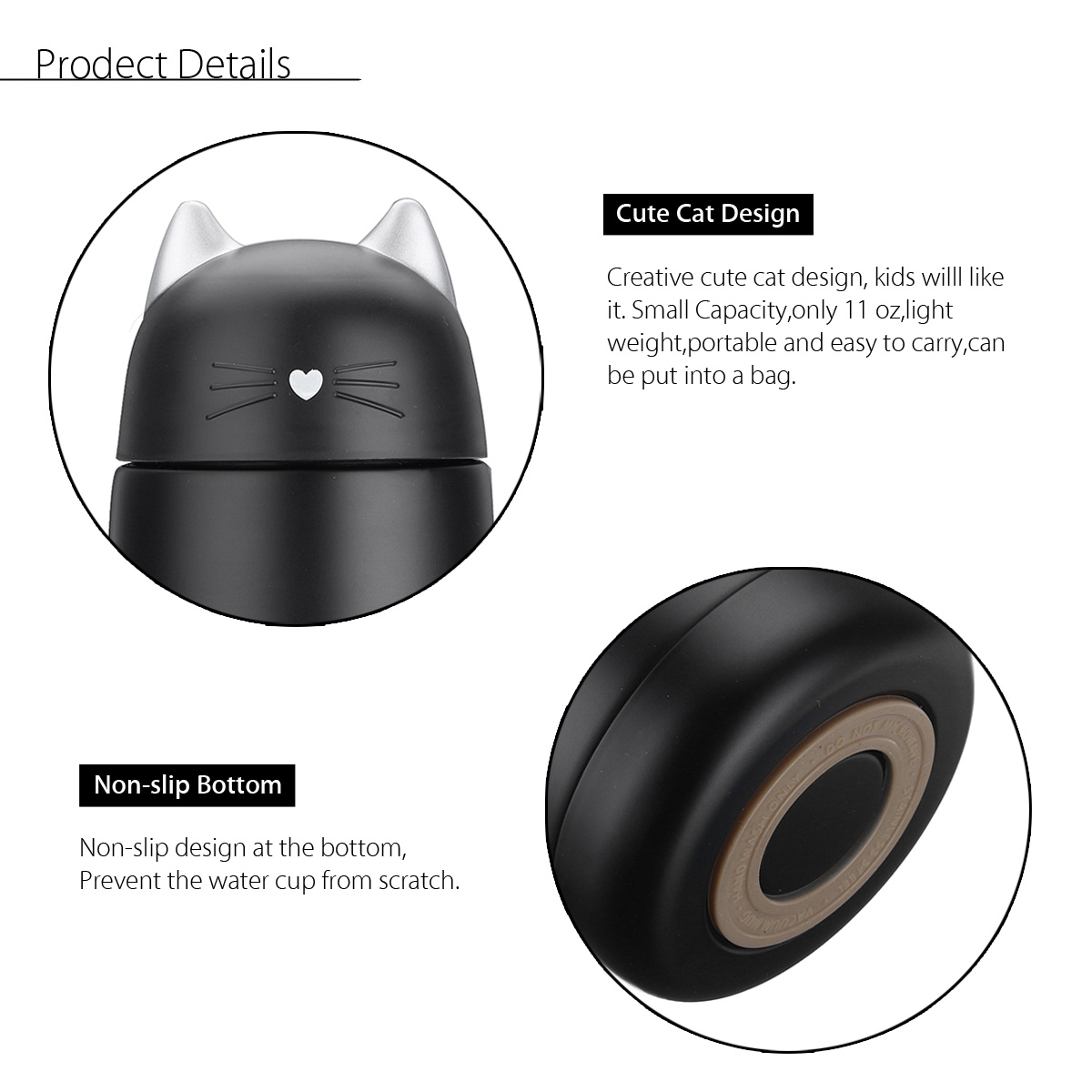 330ml Cartoon Cat Thermos For Kids Vacuum Insulated Water Bottle Vacuum Flask Tea Cup Mug
