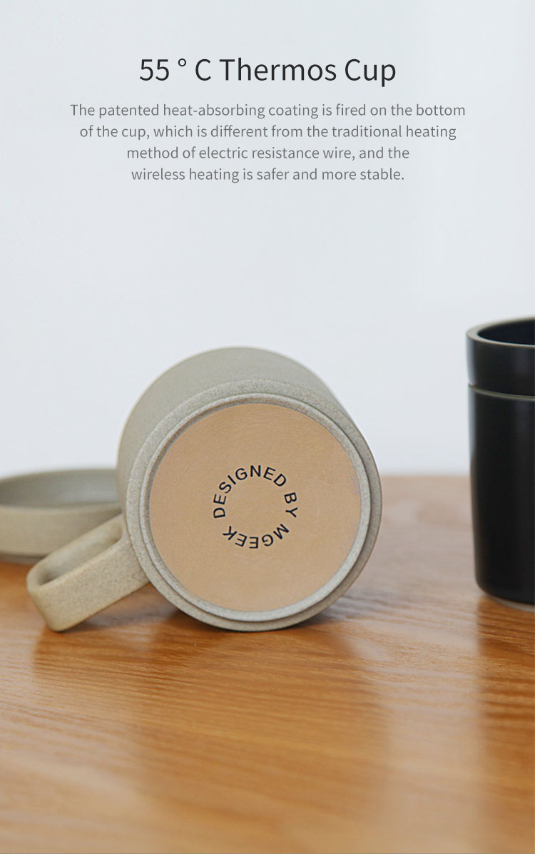 VH Wireless Charging 55 °C Thermos Cup Electric Cup Coffee Cup Japanese Style Mugs Ceramics Coffee Mug With Saucer Drinkware Set from xiaomi youpin
