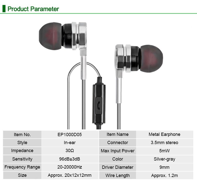 D05 Professional Metal Heavy Bass HiFi In-ear Earphone Stereo Sound Music Earbud Headset With Mic
