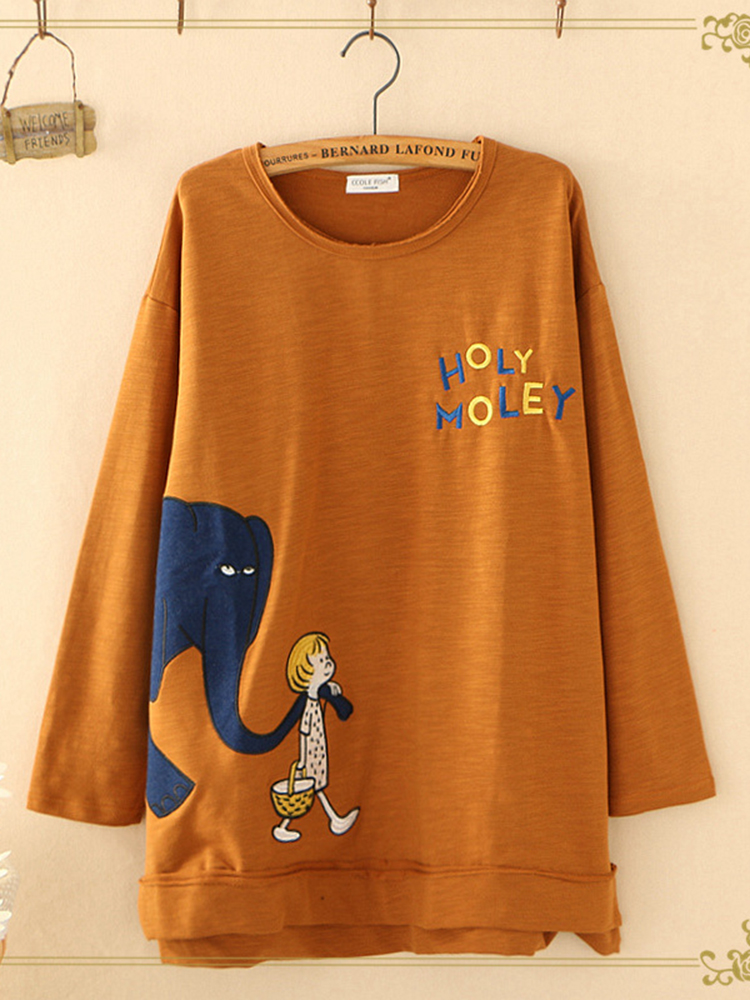 Women Letter Cartoon Print O-neck Long Sleeve Casual T-shirt
