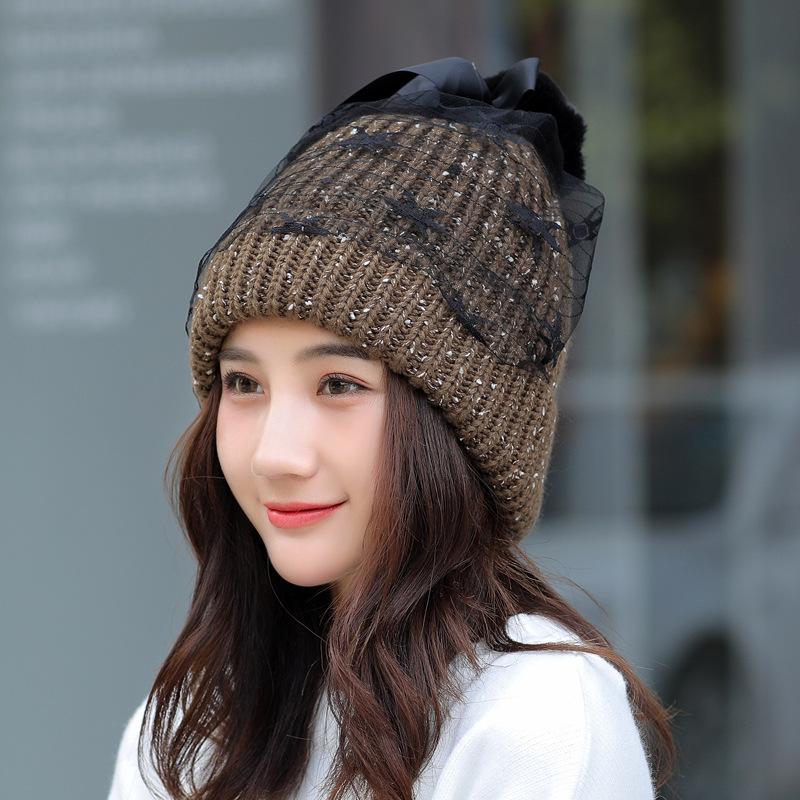 Women Winter Warm Knitted Hat Mesh Gauze Knit Cap