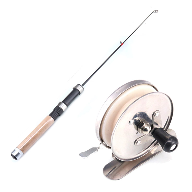 ZANLURE 62CM Wooden Handle Telescopic Fishing Rod Reel