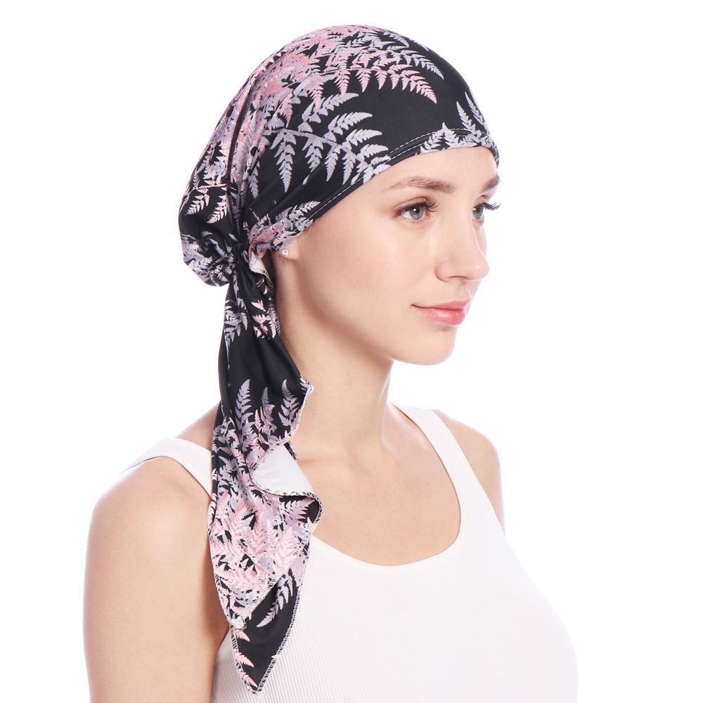 Women Vintage Muslim Floral Bandaged Turban Hat