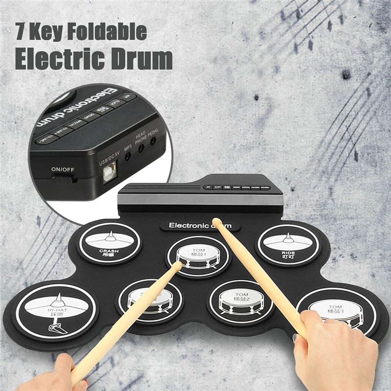 7 Pad Portable Electronic Roll Up Drum Silicon Kit With Drum Stick Foot Pedal
