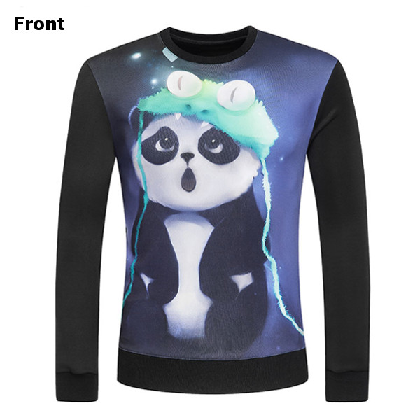 Digital 3D Printing Panda Round Collar Pullover Fashion Casual Long-sleeved Sweater Hoodies