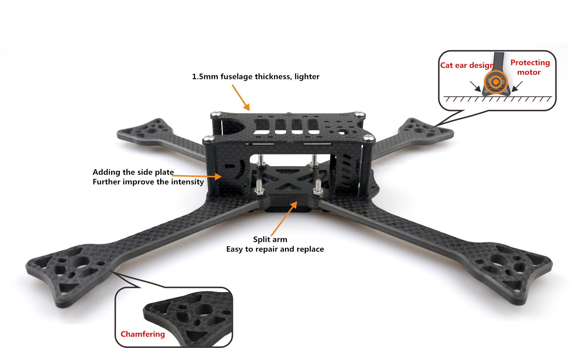 OWLRC Dragon Stretched X5 DSX-5 228mm 5mm Arm FPV Racing Frame Kit 3k Full Carbon Fiber for RC Drone