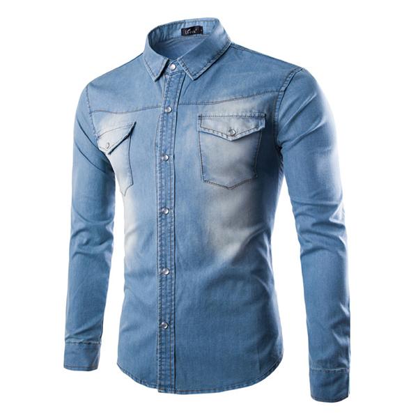 Mens Fashion Autumn Long Sleeve Personality Denim Turn-down Collar Casual Shirt