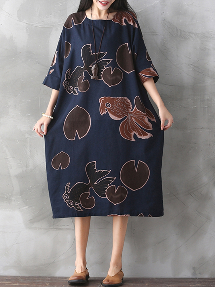 Women Vintage Plus Size Fish Printed Dresses Round Neck Mid Dress