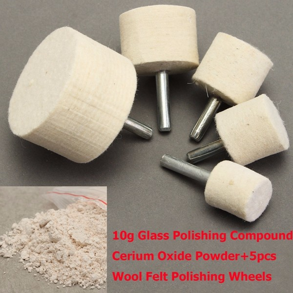 10g Glass Polishing Compound Cerium Oxide Powder & 5pcs Wool Felt Polishing Wheels Polishing Tool