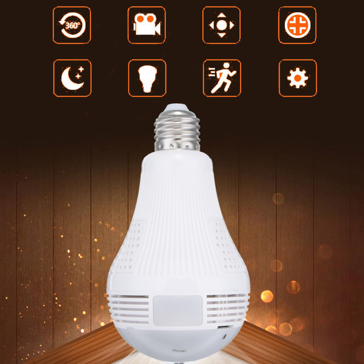 E27 360° Wifi Panoramic 960P Hidden IR Camera Fisheye Night Vision IP Light Bulb AC100-240V