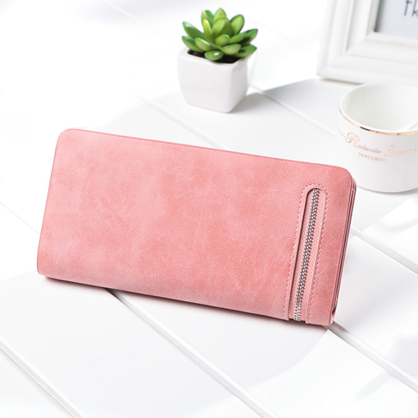 Women Candy Color Nubuck Zipper Long Wallet Phone Purse For Iphone Samsung Huawei 11 Card Holder
